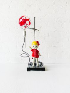 Balloon Girl Light - Industrial Science Stand Lamp - Vintage Bisque Doll Figurine - Painted Red Hearts Light Bulb - B&W ZigZag Cloth Cord