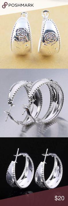 NWOT Sterling silver hoop earrings NWOT Sterling silver hoop earrings.atleast 1.5 inches diameter.round . Jewelry Earrings