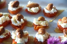 Light and fresh apricot and goat cheese bites