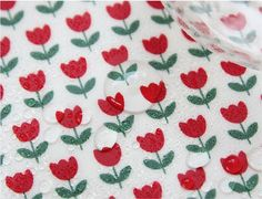 """Tessuto cotone - laminato tulipano rosso - 44"""" largo - da cantiere 55945"""