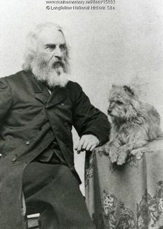 "The poet Henry Wadsworth Longfellow with his lyrical pooch. Trap, ""the last and greatest of all the dogs,"" according to HWL. Henry Wadsworth Longfellow, Photos With Dog, Cairn Terriers, Writers And Poets, Vintage Dog, Scottish Terrier, Historical Society, Famous Artists, Famous People"