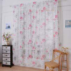 High Quality 1 pcs 0.8 * 1 m Window Curtains Sheer Voile Tulle Curtain Fruit Printed For Bedroom Living Room Kitchen Decoration #Affiliate