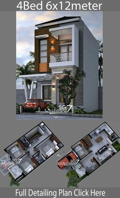 4 Bedrooms Home design plan Home Ideas is part of House design - 4 Bedrooms Home design plan House descriptionOne Car Parking and gardenGround Level Living room, Family room, Dining room, Kitchen Minimalist House Design, Small House Design, Cottage Design, Minimalist Home, Modern House Design, Style At Home, Interior Design Living Room Warm, Design Bedroom, Home Building Design