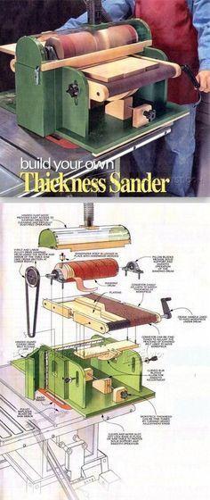 DIY Thickness Sander Sanding Tips Jigs and Techniques WoodArchivistcom Woodworking Workshop, Easy Woodworking Projects, Woodworking Tools, Woodworking Jigsaw, Woodworking Furniture, Woodworking Techniques, Wood Projects, Sanding Tips, Wood Jig