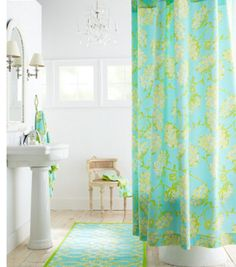 Lilly shower curtain and bath mat.