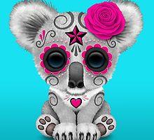 Pink Day of the Dead Sugar Skull Baby Koala by Jeff Bartels