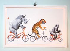 Animals riding bicycle prints, rhino, tiger and gorilla by Amelie Legault on Etsy, $24.00 Click here to buy:  https://www.etsy.com/ca/listing/209875140/rhino-tiger-and-gorilla-on-orange?ref=shop_home_active_7 #tiger #rhino #gorilla #amelielegault #cyclinganimal