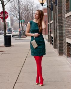 Brocade green holiday dress from Forever Hue red tights, gold Ivanka Trump pumps, gold Kate Spade tech wristlet, Kate Spade mini bow ring Grunge Look, 90s Grunge, Pantyhose Outfits, In Pantyhose, Nylons, Colored Tights Outfit, White Tights, Opaque Tights, Ivanka Dress