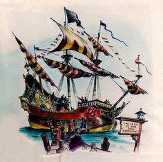 Disneyland Chicken of the Sea Pirate Ship Restaurant Painting, 1955