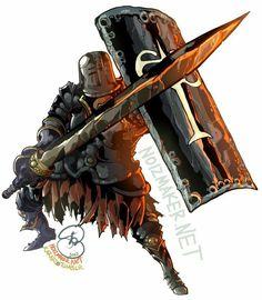 Dark Souls: Black Iron Tarkus by ~karniz on deviantART Soul Saga, Dark Souls 2, Demon's Souls, Samurai, Bloodborne Art, Dark Warrior, Medieval Fantasy, Anime Manga, Character Design