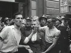 "France. WWII. A pinner says: ""Several myths dominate the scant history written about the humiliation of female collaborators.  That the acts were spontaneous, emotive responses to liberation is one of them. Another, is that they were entirely extra-judicial. The public humiliations lasted for over three years, occurred in waves, were planned  and affected an estimated 20,000 women. Half of these women were not sexually involved with the German occupiers, but were still stigmatized"""