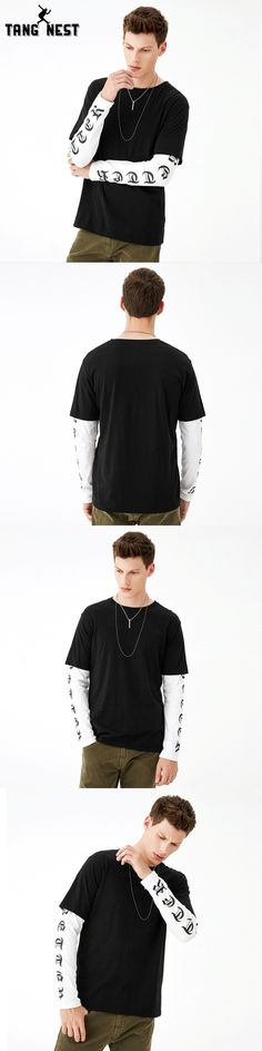TANGNEST 2017 Fashion Design Long-sleeved T shirt Men Casual Youth O-Neck T-shirts Slim All-matched Men T-shirt MTL937