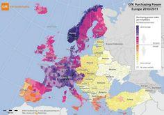 MAPAS CURIOSOS.- Hoy, uno comparativo del poder adquisitivo en Europa: