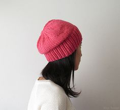 Hand Knitted Chunky Hat in Fuchsia - Slouch Seamless Hat - Winter Hat - Wool Blend - Ready to Ship