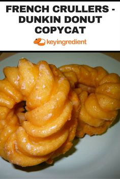 French Crullers are soft doughnuts with a sweet glaze. These taste just like the ones served at Dunkin Donuts! Dunkin Donuts Copycat Recipe, Donut Recipes, Copycat Recipes, Cooking Recipes, Churros, Grilled Peach Salad, Breakfast Recipes, Dessert Recipes, Breakfast Dishes