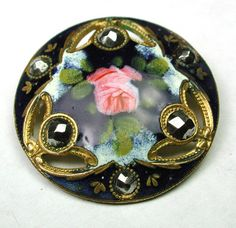 Antique French Pierced Enamel Button w/Hand Painted Rose & Cut Steels