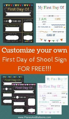 First day of school signs free printable! DIY first day of school signs template you can make from the comfort of your home in as little as 15 minutes. Editable first day of school signs for free. First Day School Sign, School Signs, Old Teacher, Be My Teacher, School Memories, School Days, School Staff, School Holidays, School Classroom