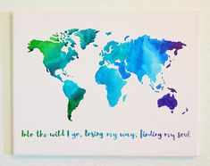 Original watercolor heart map of the world travel art with quote original watercolor map of the world travel art with quote gumiabroncs Gallery