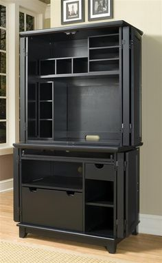 Arts And Crafts Compact Computer Cabinet W Hutch In Black
