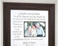 Personalized Wedding Thank You Gift for Grandparents from Bride and Groom # thank you Parenting Celebrating the Special Moments in Your LIfe by PhotoFrameOriginals