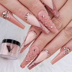 Valentino Glamorous Nude Nails – at Bling Acrylic Nails, Best Acrylic Nails, Summer Acrylic Nails, Glam Nails, Rhinestone Nails, Bling Nails, Coffin Nails, Summer Nails, Bling Nail Art