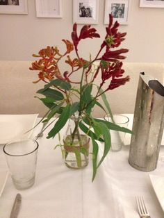 Simple native Australian kangaroo paw centrepiece. Perfect for a wedding or engagement party!