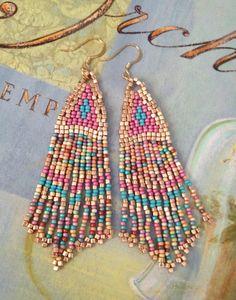 Handmade Beadwork Earrings Pink Coral Sand Long by WorkofHeart