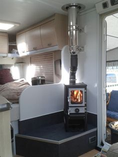 How to fit the Hobbit Small Stove in Vans, RV's, MotorHomes and Trailers - The Hobbit Stove - the Perfect Small Wood burning Stove Rv Wood Stove, Mini Wood Stove, Wood Stoves, Kitchen Stove, Small Wood Burning Stove, Small Stove, Cool Campers, Rv Campers, Camper Van