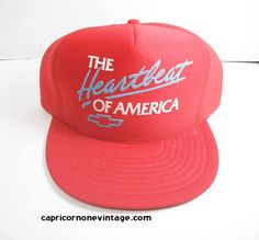 1e09a7b5babd5 Vintage Chevy Snapback Baseball Cap Trucker Hat  The Heatbeat of America   1980s Chevrolet Cars Advertising Hat Gas Station