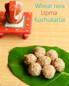 Wheat rava upma kozhukattai - An easy breakfast recipe as well as diabetic friendly recipe for this Ganesh chaturthi breakfast. Indian diabetic friendly recipes