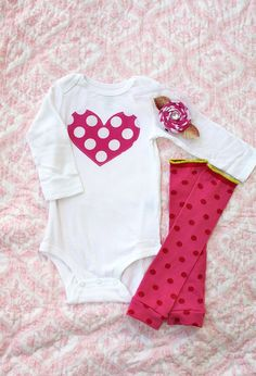 Valentine' Day Pink Polka Dot Baby Girl Heart Onesie, Leg Warmer, & Flower Hairclip / Headband Set.