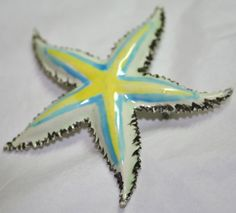Vintage white japanned enamel starfish pin brooch blue by lbjool, $22.00