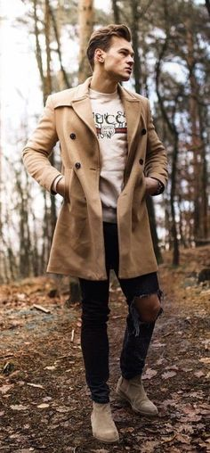 b0ba8e66a57db Fall combo inspiration with a gucci sweatshirt tan overcoat black ripped  jeans brown suede boots.