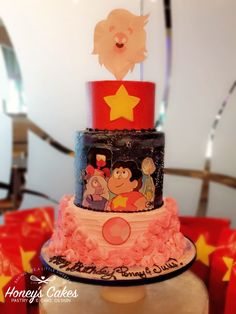 We are the crystal gems! Steven Universe birthday cake by Honey's Cakes