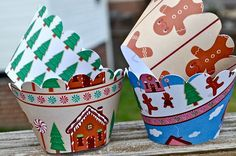 Items similar to Gingerbread Christmas Cupcake Wrappers on Etsy Cupcake Liners, Cupcake Wrappers, Christmas Tea, Christmas Cupcakes, Gingerbread, Tea Cups, Planter Pots, Wraps, Presents