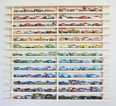 Natural Wood Two Tier Wall Garage (holds over 100 toy cars)