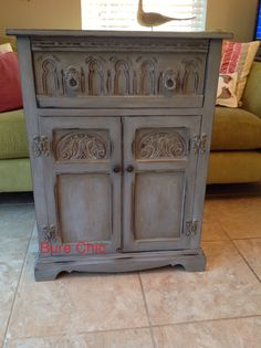 Layers of Annie Sloan paint and wax make this cabinet so special. www.facebook.com/BureChic