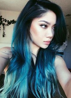 Teal Blue Tips on Long Dark Hair