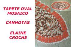 CROCHE PARA CANHOTOS - LEFT HANDED CROCHET - TAPETE OVAL MOSAICO EM CROC...