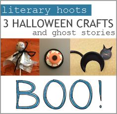 Literary Hoots: Three Halloween Crafts & Stories--scary stories to tell with your crafting activity! Halloween Stories For Kids, Halloween Pictures, Halloween House, Halloween Crafts, Happy Halloween, Scary Stories To Tell, Ghost Stories, She's A Witch, Library Activities