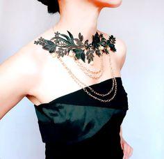 statement necklace // black lace bib necklace// by LaceFancy