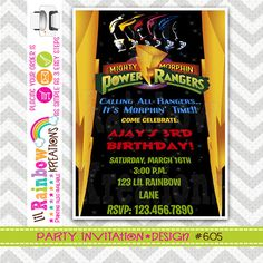 605 DIY Power Rangers 2 Party Invitation Or by LilRbwKreations
