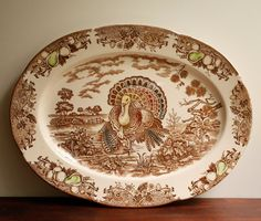 brown transferware turkey - My Granny had a platter just like this! Vintage Thanksgiving, Thanksgiving Turkey, Happy Thanksgiving, Turkey Plates, Turkey Dishes, Thanksgiving Blessings, Autumn Table, Turkey Time, Fancy Schmancy