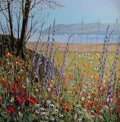 Foxgloves at Waterhead - Windermere. Original oil painting by Jeff Sudders.