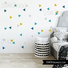 Items similar to Nordic triangle combination mustard - Baby wall sticker on Etsy