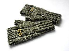Eule Kinder-Armstulpen grau fingerlose Handschuhe von frostpfoetchen auf DaWanda.com