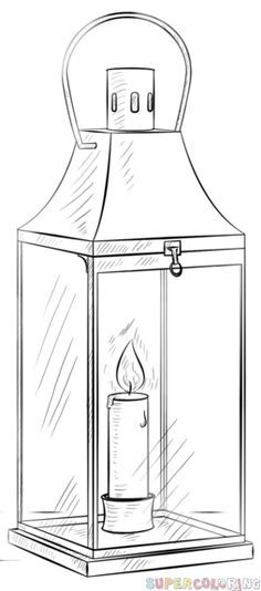 How to draw a lantern step by step. Drawing tutorials for kids and beginners.