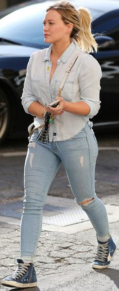 Hillary Duff wearing Cartier and Golden Goose