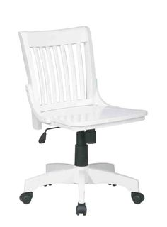 white wooden desk chair