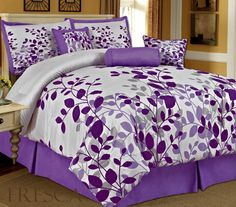Amazon.com: Bednlinens 7 Piece Queen Fresca Purple Leaves Bedding Comforter Set: Home & Kitchen